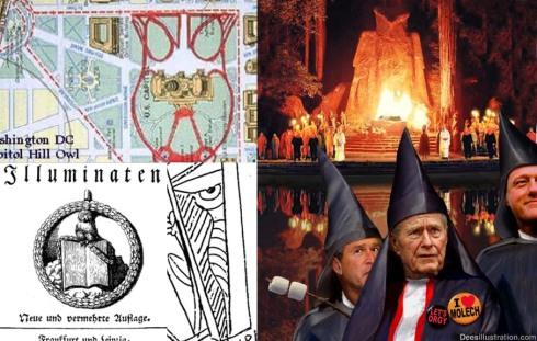 El buho de minerva, en el sello de los Illuminati de Baviera, en el mapa de Capitol Hill y el un fotomontage humorístico de David Dees sobre Bohemian Grove, en comparación con la figura de Parravicini...