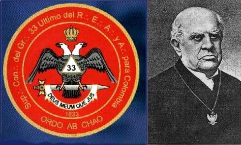 Orden por medio del Caos, el motto latino del emblema del grado 33 de la Masonería, cuyo colgante porta D.F.Sarmiento en la foto